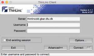 ThinLinc Access prompt